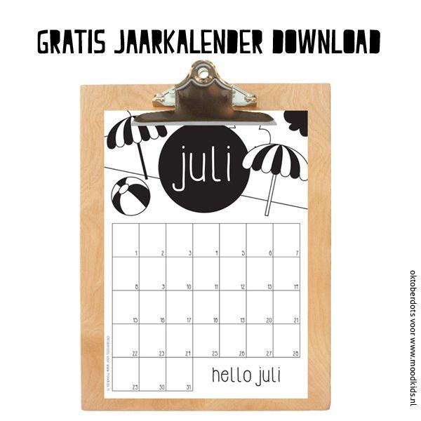 Gratis juli maandkalender kleuren