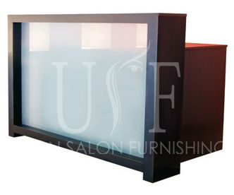 A reception desk with branding option