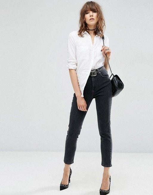 ASOS | ASOS – Farleigh – Mom-Jeans mit hoher Taille in verwaschenem Schwarz