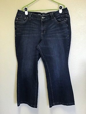 Lane Bryant 20 Petite Flare Jeans Stretch 5 Pocket Blue Zipper