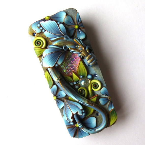 Blue Dragon Tin Mixed Media Collectible Polymer Clay Covered
