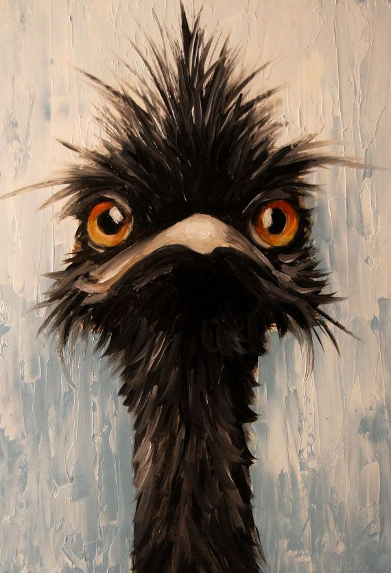 Emu 4x6 oil painting print by Elizabeth Barrett Printed on high quality gloss paper Welcome! My name is Elizabeth Barrett, painting