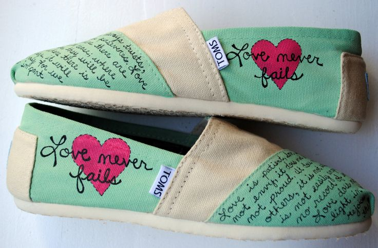 Ready to Ship Womens 8.5 - Love Bible Verse Hand Painted Toms, Mint Green and Cream, 1 Corinthians 13, Custom hand painted shoes. $85.00, via Etsy.