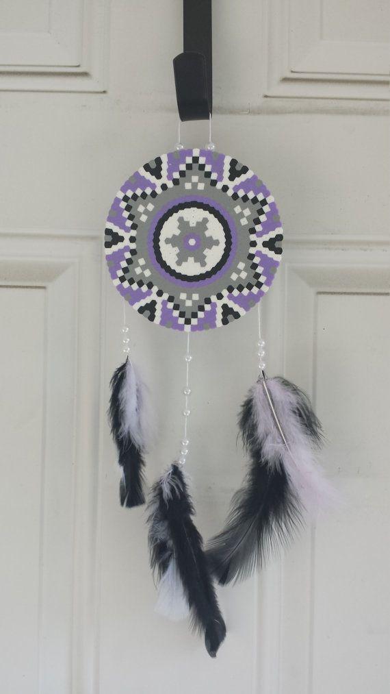 Dreamcatcher Purple Gray White Black by BurritoPrincess on Etsy