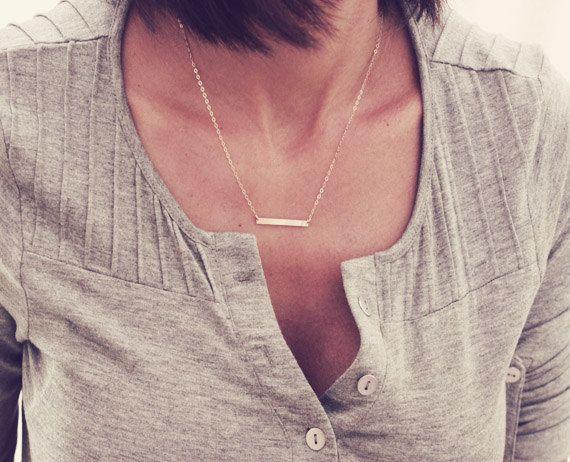 Dünne Bar Halskette / gerade Bar Halskette von DaintyLayersJewelry