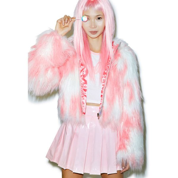 24HRS X Dolls Kill Faux Fur Phenomena Coat ($130) ❤ liked on Polyvore featuring outerwear, coats, babydoll coat, long sleeve coat, baby doll coat, hooded coat and pink faux fur coat