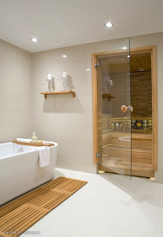 Pin by mirja yl on sauna bath pinterest medium saunas for Master bathroom with sauna