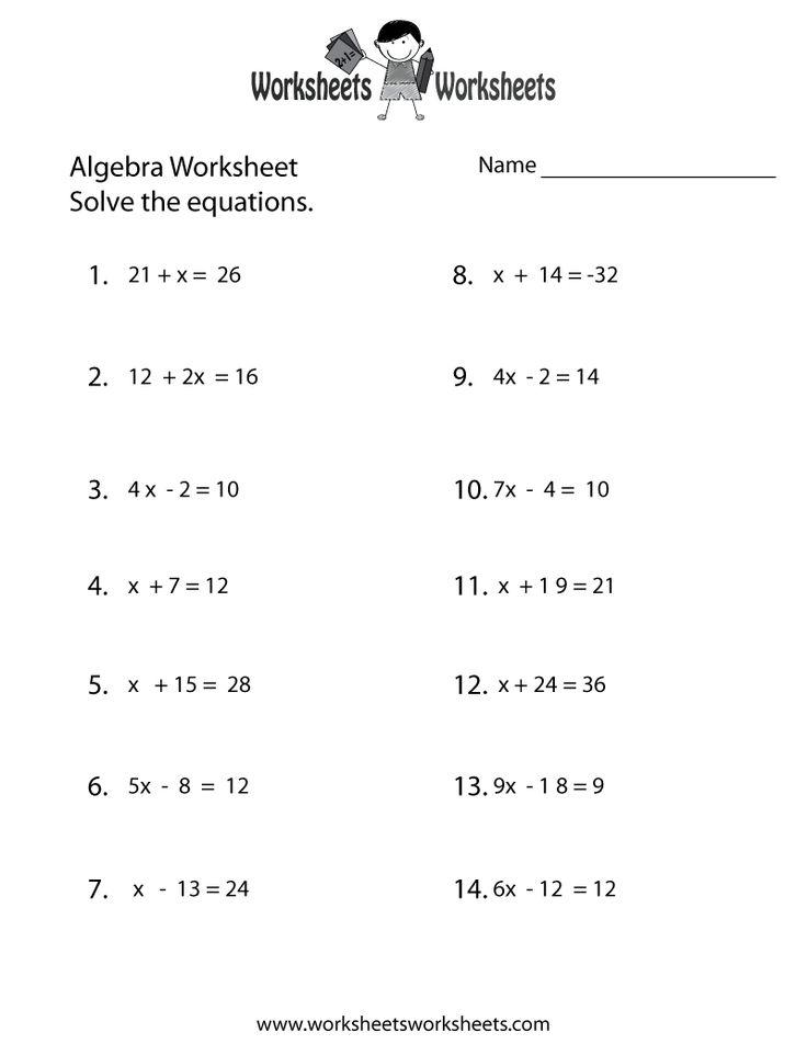 simple algebra worksheet printable school algebra worksheets basic algebra worksheets 10th. Black Bedroom Furniture Sets. Home Design Ideas