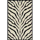 American Home Rug - African Safari Off White/Black Zebra Print Rug