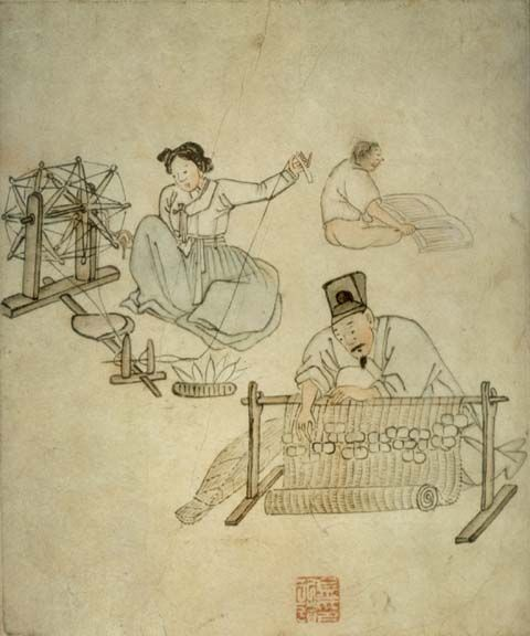 Print of 'Mat Weaving' an original work painted by Kim Hong Do (1745 - 1815?).during the Chosun Dynasty    http://www.korean-arts.com