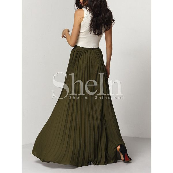 SheIn(sheinside) Army Green Pleated Maxi Skirt (54 BAM) via Polyvore featuring skirts, olive maxi skirt, brown pleated skirt, olive green maxi skirt, long maxi skirts and pleated maxi skirt