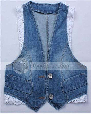 Omiel Laciness Denim Slim Single Breast V Neck Pockets Womens Vest