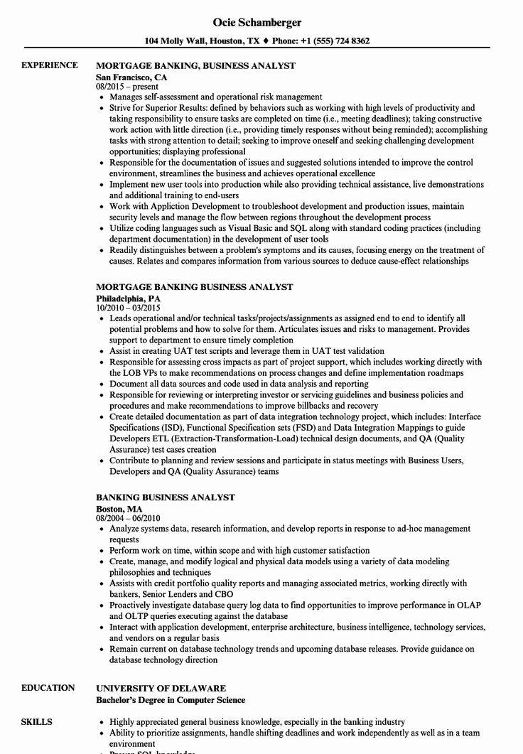 40 Sample Business Analyst Resume in 2020 (met afbeeldingen)