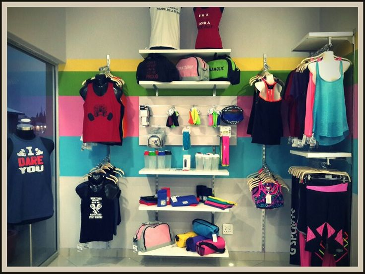 Everything you need to start your fitness journey... You will find it here!   Mens and woman's racerback t's. Plain and printed tshirts. Headbands. Leggings in lycra, brazillian compression and cotton lycra, long, Capri and short. Gloves, belts, grips, hooks. Bags, towels with zips and earphones. Shakers and waterbottels.   All under one roof!