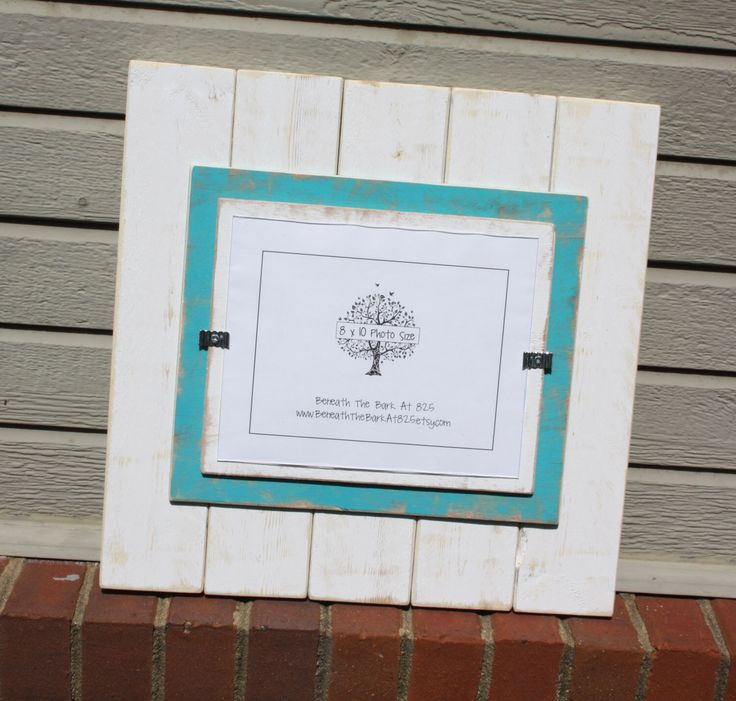 8x10 picture frame distressed wood double mats holds an 8x10 photo white aqua