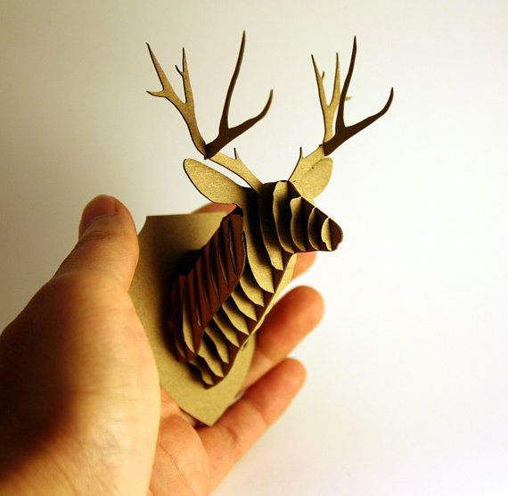 Dollhouse Miniature Deer Trophy Head, Modern Animal Friendly Wall Decor in Cardboard. $0,20, via Etsy.