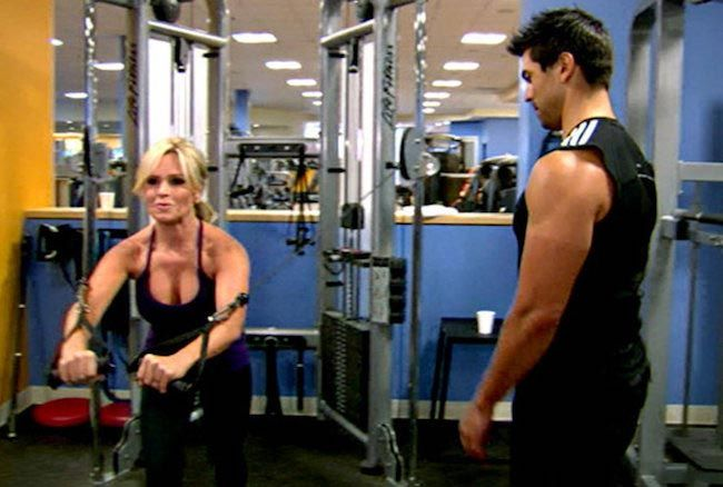 Tamra Barney doing cable crossover for chest...