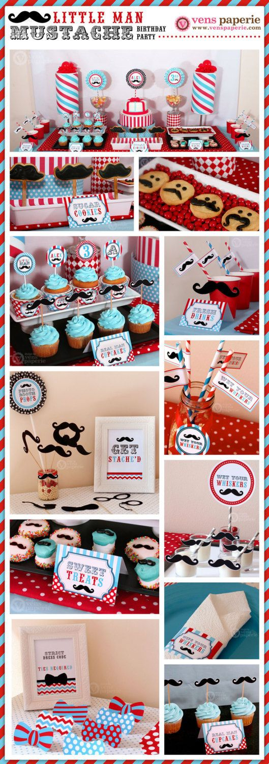 Little Man Mustache Birthday Party - DIY PRINTABLE Water Bottle Drink Label - Instant Download - PS829CA1g. $5.00, via Etsy.
