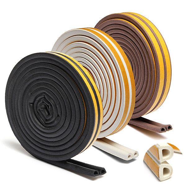 Hot Sale 5m Self Adhesive D Type Doors And For Windows Foam Seal Strip Soundproofing Collision Avoidance Rubber Seal Coll Adhesive Door Draft