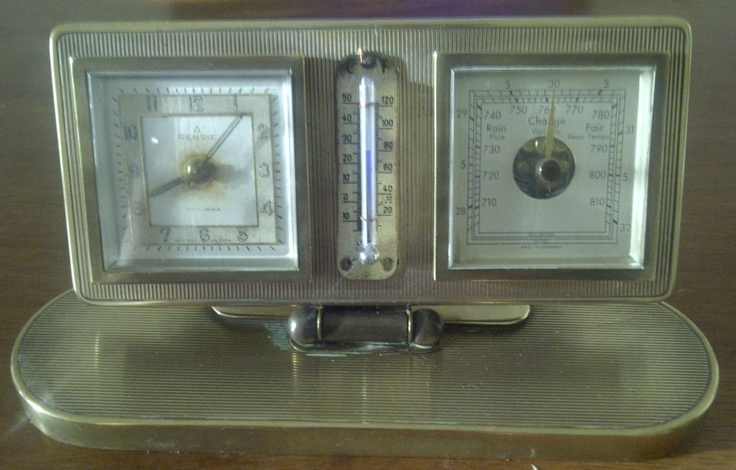 My Grandfather's Desk Clock - Vintage Rensie Brass Alarm Clock Thermometer Barometer in perfect working condition