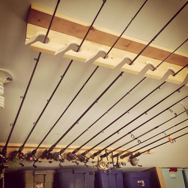 Hang Your Fishing Rods From A Ceiling Rack To Keep Them Out Of The Way. 38  Ways To Vastly Improve Your Garage