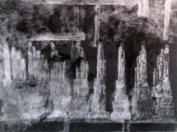 Vue de l'usine PSA-Aulnay paraffine sur panneau bois fond noir réalisé par Isabelle Bonté-Hessed2