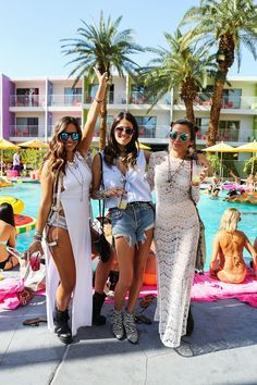 30 Pool Party Outfits From Coachella's Best Bash #refinery29  http://www.refinery29.com/2015/04/85546/coachella-pool-party#slide-29  Lace gowns were a thing.