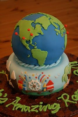 another earth cake - I like the pins to mark travel sites