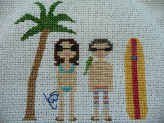 Cross Stitch Portrait w/out frame 2 People by loveandbeststitches, $33.00