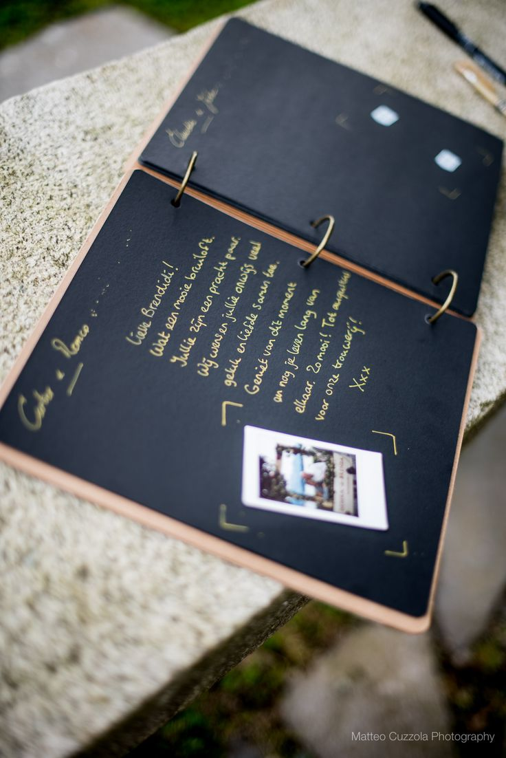 Our wedding guest book. We asked everybody to take a polaroid picture with the photo frame, put the picture in the book and write something next to it. Such precious memories.