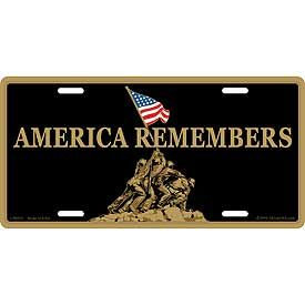 America Remembers Iwo Jima Marines License Plate America Remembers Iwo Jima Marines License Plate Mount Suribachi WWII World War 2 WW2 Iwo Jima Flag Raising [EE-LP0553] - $14.00 : Hat n Patch, Military Hats, Patches, Pins and more