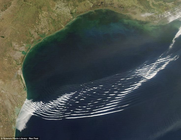 Gravity wave clouds over the Gulf of Mexico, off the coast of Texas