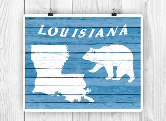 Louisiana State art Louisiana State map Louisiana by PrintCorner