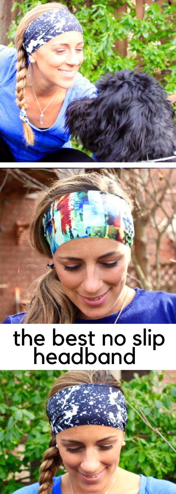 Yoga Headband, Black Splatter, Workout Headband, Running Headband, Non Slip Headbands, Wide Headband - #afflink