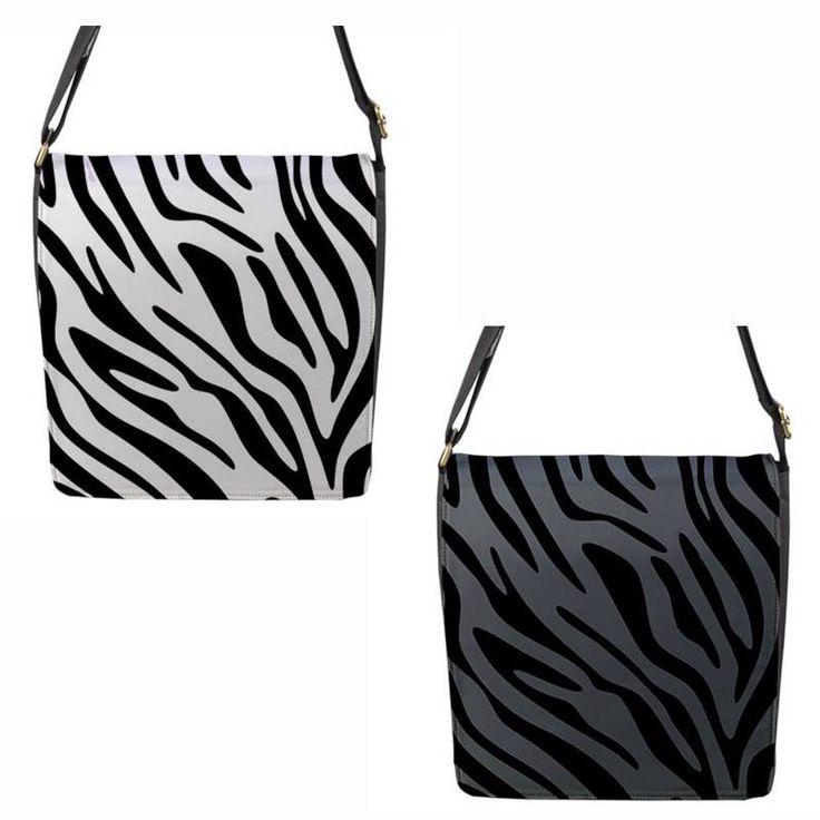White or Grey Zebra Stripe Chameleon Removable Flap Shoulder Bag (Petite)
