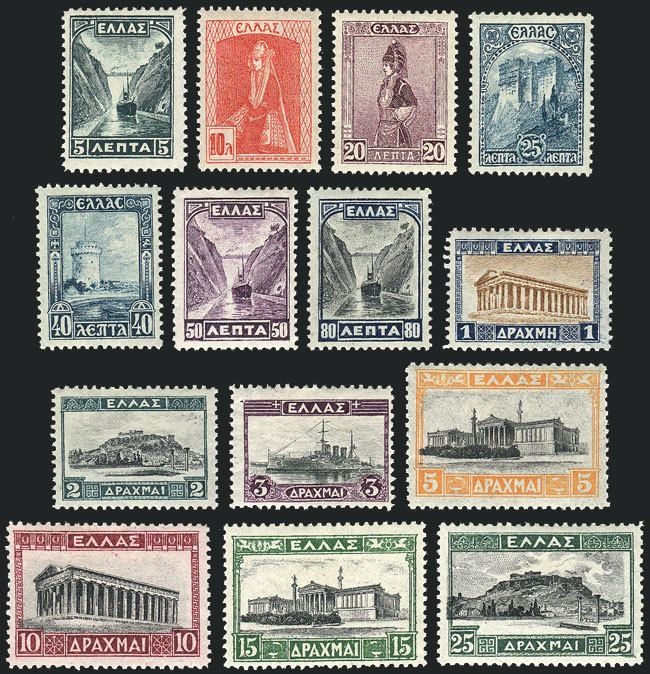 Greece, Sc.321/334, 1927 complete set of 14 values, mint lightly hinged, VF quality, catalog value US$245. Starting Price (11/2016): 107 EUR.