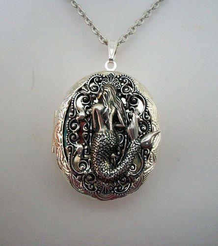 Mermaid Siren Ocean Lady of The Sea Silver Locket Necklace GR8 Pill Stash Box   eBay