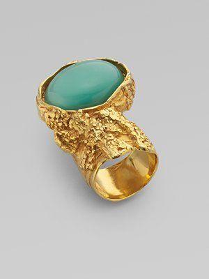 d45d3635188c1 Yves Saint Laurent Arty Ovale Ring in Green  goldjewellerynartpieces ...