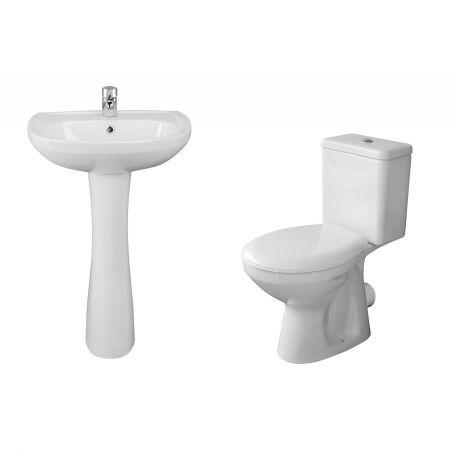 Set lavoar si vas de toaleta Pyramis TROY, ceramica, complet echipat