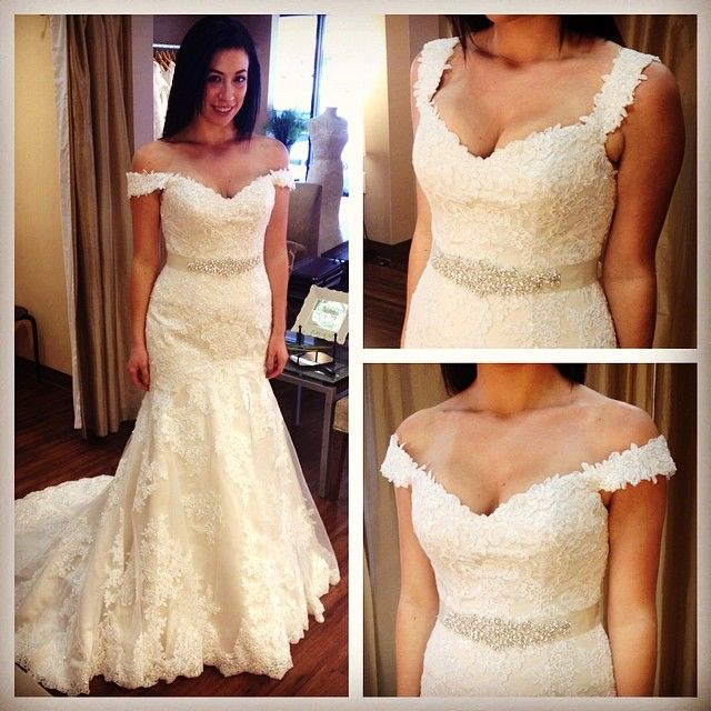 Essense of Australia thought of everything!  Versatile straps that can be styled on or off the shoulder #D1617 #belfiorebridal