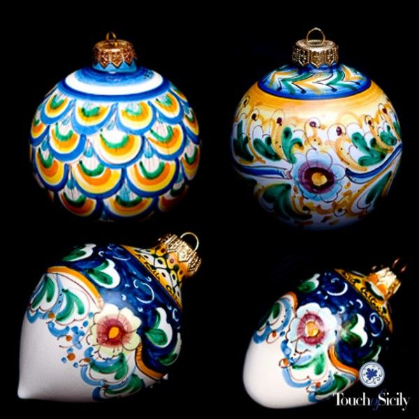 Do not miss the opportunity to decor your Christmas tree with a complete set of hand painted ceramics balls. They will give an elegant touch to your Christmas. Price is a for a complete set of 4 different balls: $256. Touchofsicily.it