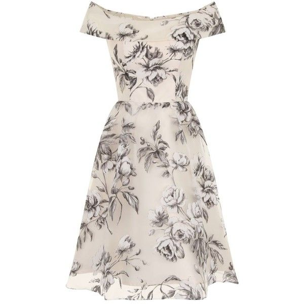 Chi Chi London Floral Print Bardot Midi Dress (£55) ❤ liked on Polyvore featuring dresses, cream, women, floral print dress, special occasion dresses, pink evening dress, cream cocktail dress and pink dress