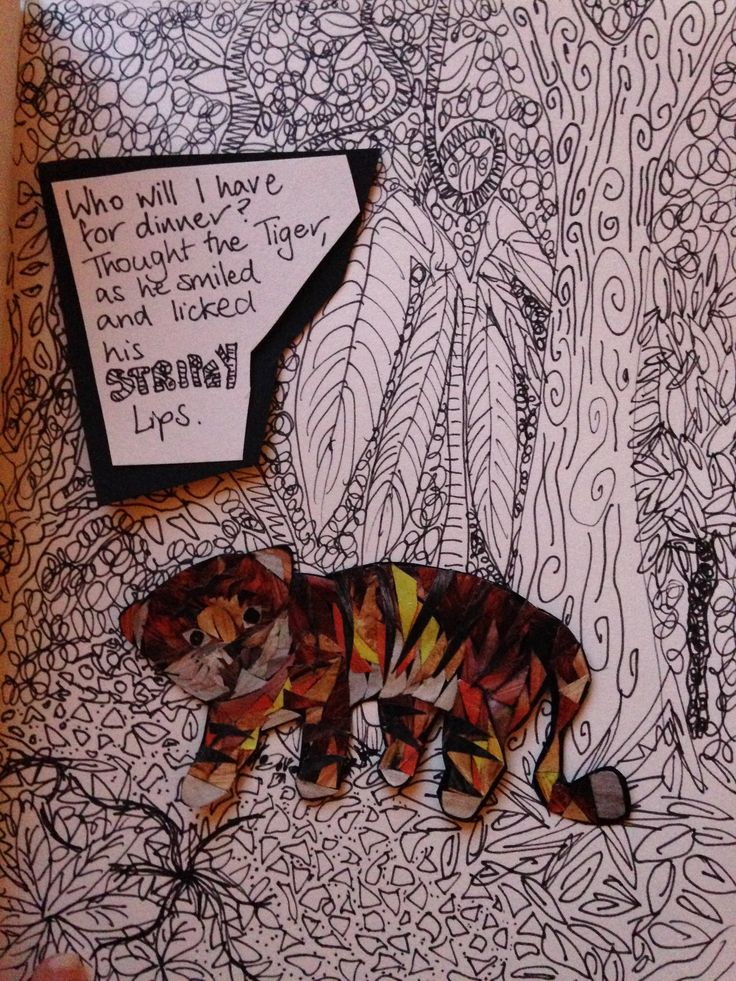 tiger collage, pen and ink, mixed media