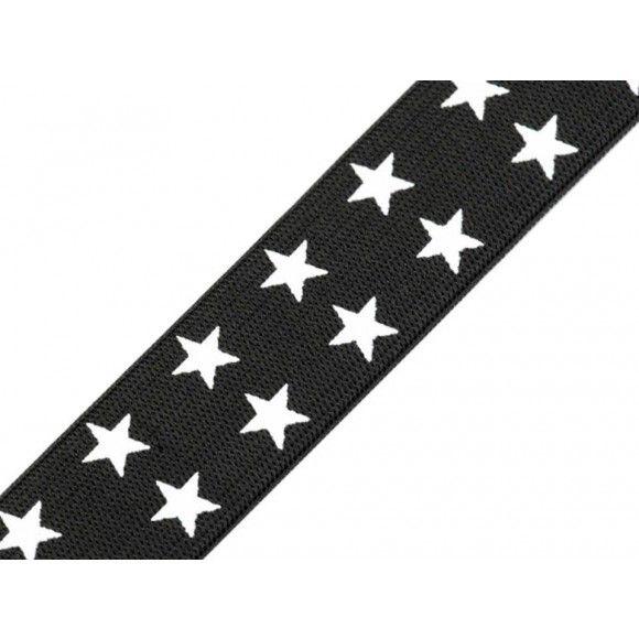 Gummiband mit Aufdruck mit doppel Sternen 25 mm – schwarz