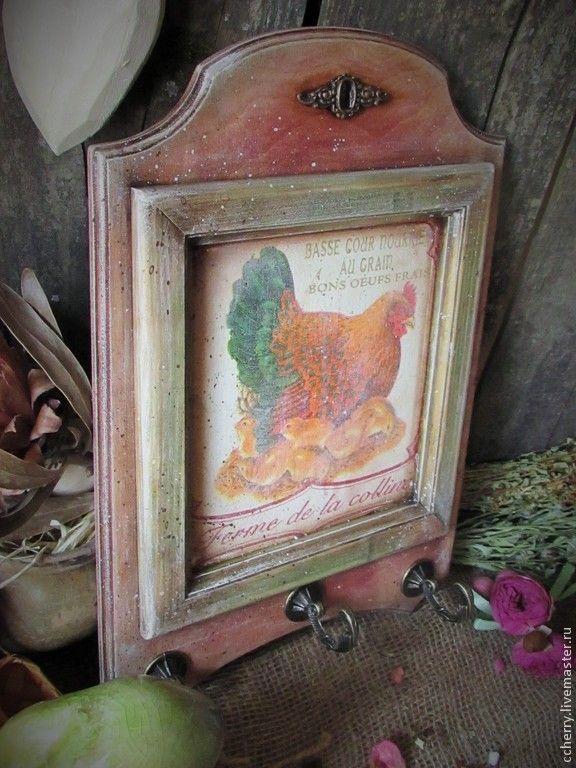 """Купить Панно - вешалка """" Куриная ферма..."""" - коричневый, бордовый, зеленый, желтый, цыпленок"""