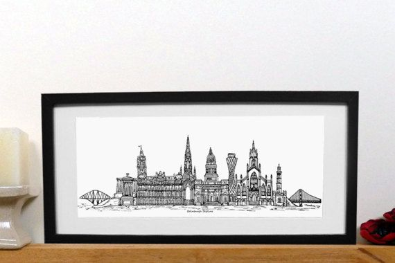 Edinburgh skyline print  Edinburgh print  Black and white
