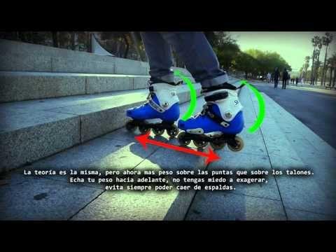 Patinaje en línea tutorial como bajar escaleras - YouTube
