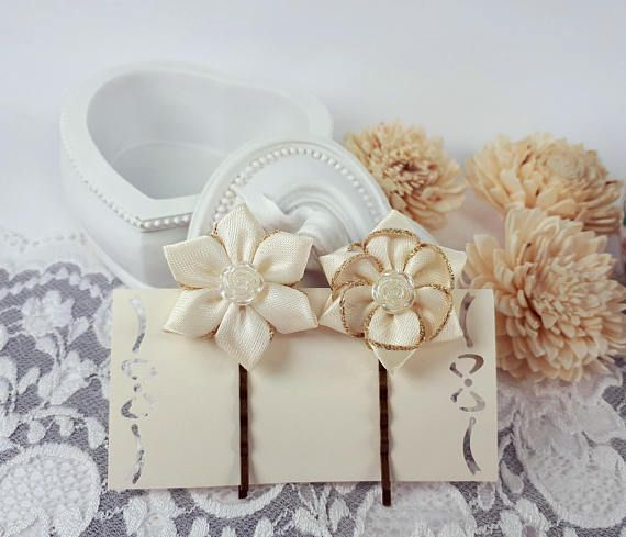 2 ribbon flower hairpins ivory hair accessories ivory bobby