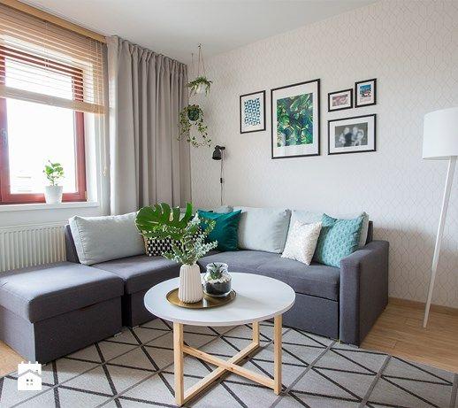 Elegant Zielony Salon  Metamorfoza   Średni Salon   Zdjęcie Od Nowe4Ściany Living  Room Design | Greenery