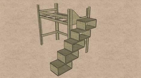 Etagenbett Mit Treppe Selber Bauen : Hochbett: bettgestell mit treppe aus regalkästen selbst gemacht in